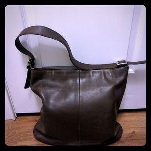 Vintage Brown Leather Coach Shoulder Bag